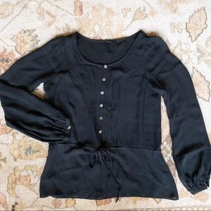 theory // silk peplum blouse